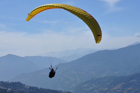 Sikkim valley view tandem paragliding flight