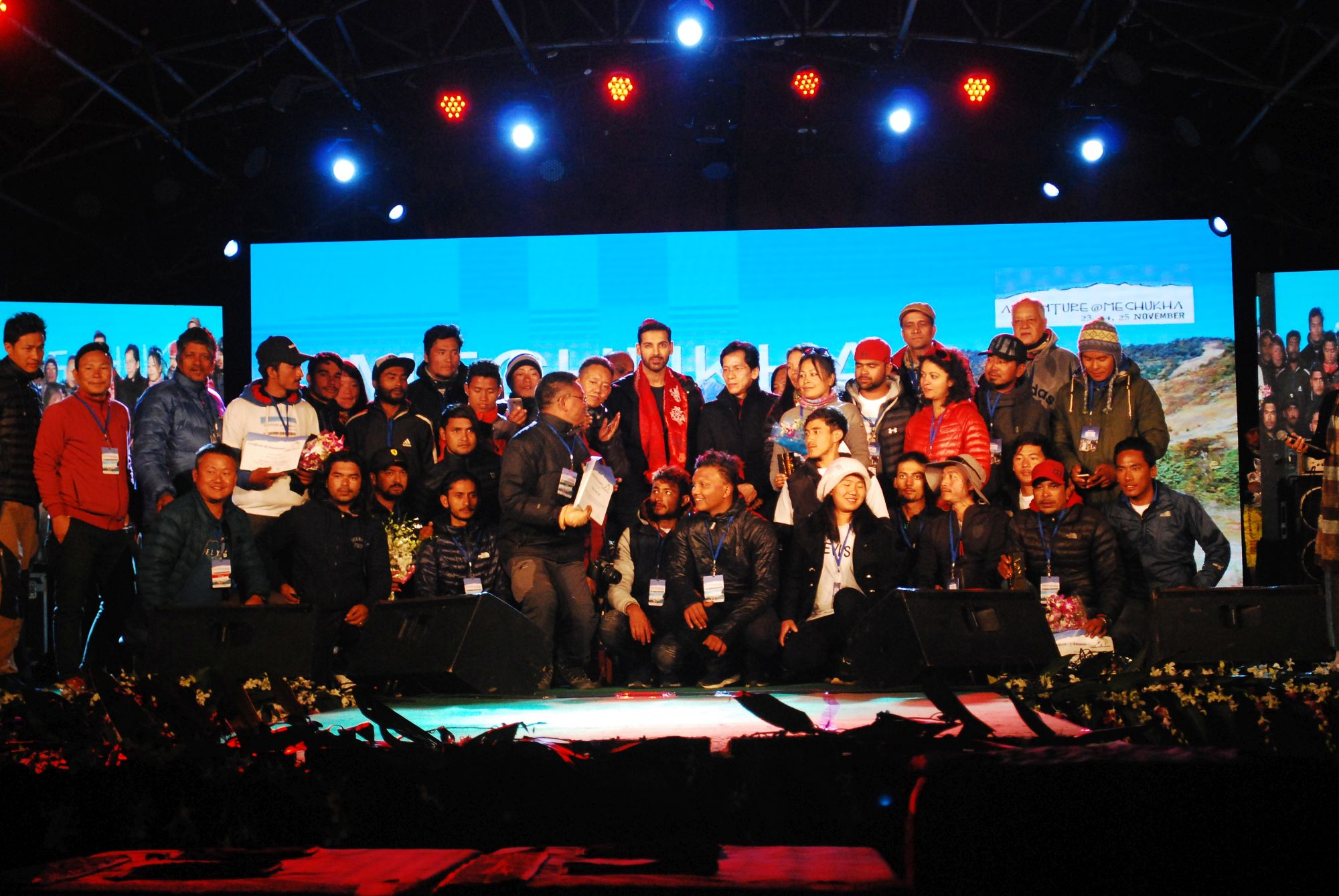 Participants and crew of the Accuracy Competition posing for a group picture with Bollywood Actor, John Abraham at the Closing and Award Ceremony on 25th November 2017.